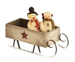 Your Hearts Delight Distressed Whitewash Star Sleigh, 25 by 9 by 9-Inch, Burgundy