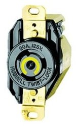 Hubbell Wiring Systems HBL2450 Twist-Lock Single Receptacle - Black