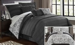 6-Pc Rozelle Reversible Paisley Floral Comforter Set - Grey - Size: Twin