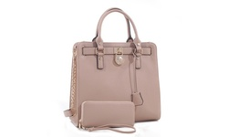 MKII Women's Nikki Satchel Handbag & Wallet Set - Beige