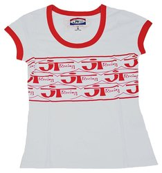 JT Racing USA Women's Ringer T-Shirt - Red - Size: XX-Large