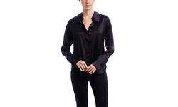 L'agence Long Sleeve Notch Collar Silk Blouse - Black - Size: 8