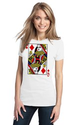 Queen Of Diamonds Women's Card Costume T-Shirt - White - Size: M