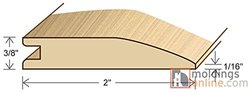 "Moldings Online 3371178007 78"" x 2"" x 0.385"" Unfinished Pecan Character Reducer"
