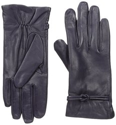 Isotoner Women's Fleece Lining Leather Gloves - Deep Purple - Size: M