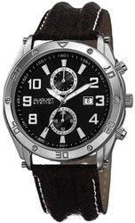 August Steiner Men's Swiss Quartz Multifunction Leather Watch - Brown