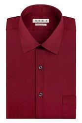 Van Heusen Regular Fit Collar Dress Shirt - Red - Size: 17 1/2 x 34/35