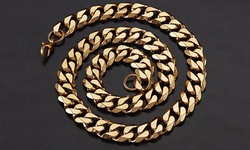 Men's Stainless Steel Cuban Curb Chain Necklaces - Gold - 24""