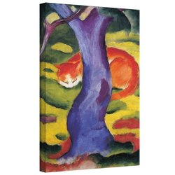 ArtWall Franz Marc 'Cat Behind Tree' Gallery Wrapped Canvas Artwork, 18 by 24-Inch