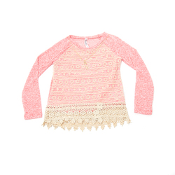 Beautees Girl's Lace Front Top with Necklace - Mint - Size: 7-16