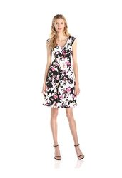Gabby Skye Cap Sleeve V Neck Floral Fit/Flare Dress: Black/Pink - Size: 14