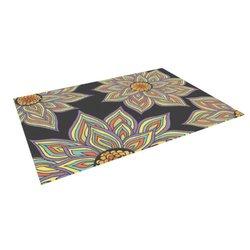 Kess Inhouse Pom Graphic Design Floral Rhythm Dark Floor Mat - Multicolor