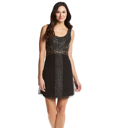 Sable & Zoe Women's Art Deco Beaded Cocktail Dress - Black - Size: 8
