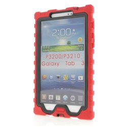 Samsung Galaxy Tab 3 7 inch (2013) Red Shock Drop Hard Candy Cases Silicone Rugged Shock Absorbing Protective Dual Layer Cover Case