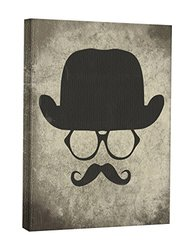 JP London CNV2321 Vintage Moustache Shadow Glasses Invisible Man Canvas Art Wall Decor, 2' x 1.5'