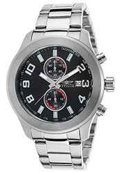 Mens Chronograph Watch: INVICTA-21489/Silver Band-Black Dial