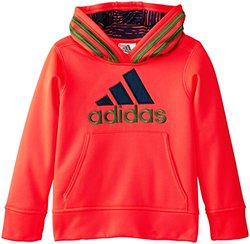 adidas  Boy's Fleece Logo Pullover Hoodie - Solar Red - Size: 6