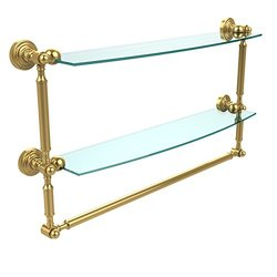 "Allied Brass Dble Shelf w/Towel Bar Polished Brass - 24""x5"""
