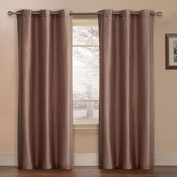 """Preston Faux-Silk Lined Curtain Panel - Set of 2 - Taupe - Sz: 80"""" x 84"""""""