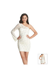 My Michelle Women's Lace & Sequin Sleeve Dress - Navy/Silver - Size: 5