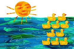 Marmont Hill Eric Carle's 10 Little Rubber Ducks Cover Canvas Wall Art, 36 by 24-Inch