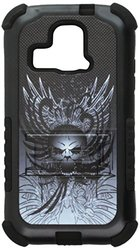 Beyond Cell Tri-Shield Durable Hybrid Hard Shell and Silicone Case for Kyocera Hydro XTRM C6721 - Wing Skull - Retail Packaging - Black