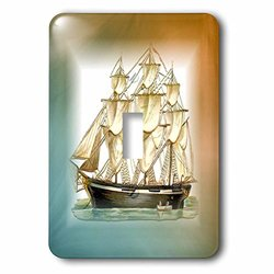 3dRose Print of Vintage Sailboat On Aqua & Amber Single Toggle Switch