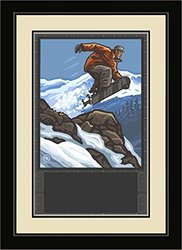 Northwest Art Mall Loveland Colorado Snowboarder Jumping Framed Wall Art