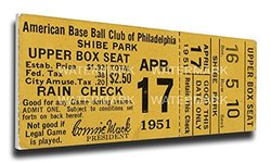 That's My Ticket 1951 Philadelphia Athletics vs Washington Senators Mega Ticket Wall Decor