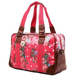 Miss Lulu Women's Oilcloth Butterfly Design Travel Bag - Flower Plum