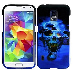 HR Wireless Design Cover for Samsung S5 Active - Retail Packaging - Blue Skull