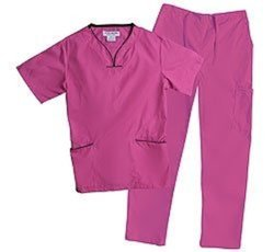 Natural Uniforms Women's Trim Scallop Scrub Set - Hot Pink - Size: Medium