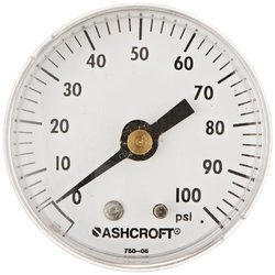 "Ashcroft Type 1001P ABS Patented PowerFlex Movement Panel Mount Commercial Pressure Gauge, 2"" Dial Size, 1/4"" NPT Back Connection, Brass Socket, 0/100 psi Range"