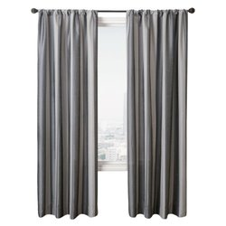 Stripe Gunmetal Diplomat Rod Pocket Curtain - 55 in.W x 84 in. L