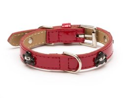 Enamel Skull Crystal Straight Dog Collar, Medium Size 11-14, Red Patent with Black Crystal Skulls