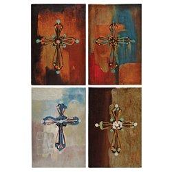 Donnie Reflection of Hope/Peace/Joy/Light Canvas Cross Oil Paintings - 4Pk