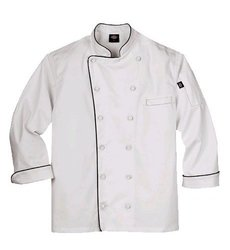 Dickies Men's Polyester Executive Chef Coat with Piping - White - Size: M