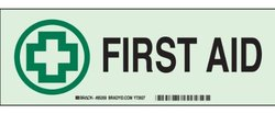"Brady 85478 Glow-In-The-Dark Plastic First Aid Sign, 5"" X 14"", Legend ""First Aid (with Picto)"""