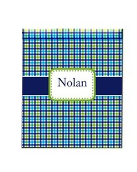 aBaby Personalized Plaid Fleece Blanket, Name Nolan