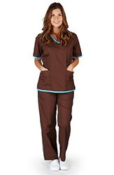 Natural Uniforms Women's Trim Scrub Set - Chocolate/Water Blue - Size: M