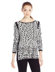 Women's Long Sleeve Wide Crew Neck Jacquard Pullover - Shanele - Size: L