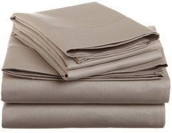Cotton 1500 Thread Count Solid Sheet Set  Queen-Stone