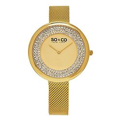 Womens Mesh Cystal Studded Watch: GP16083-Gold Band/Gold Dial