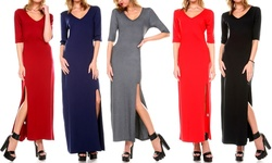 Women's V-Neck Maxi Dress with Slit - Grey - Size: Medium