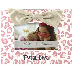 "Fetco Total Diva Decorative Frame - Pink/Burlap - Size: 6"" x 4"""