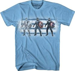 Marvel Captain America Men's Three Up T-Shirt - Blue - Size: XL