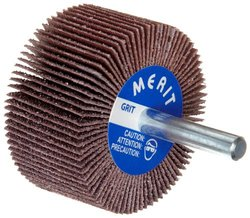 "Merit High Performance Mandrel-Mounted Mini Grind-O-Flex Abrasive Flap Wheel, Round Shank, Ceramic Aluminum Oxide, 1-3/8"" Dia., 5/8"" Face Width, Grit 60, 30000 Max RPM (Pack of 10)"