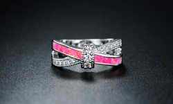 Pink Opal 18K White Gold Twist Ring - Size: 7
