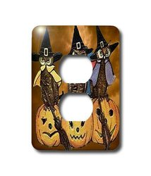 3dRose LLC lsp_6033_6 Vintage Owls on Jack o Lanterns, 2 Plug Outlet Cover
