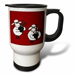 3dRose tm_196076_1 Funny Sheep Playing Bagpipes Stainless Steel Travel Mug, 14 oz, White